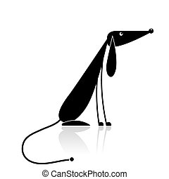 engraçado, silueta, cão, desenho, pretas, seu