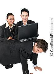engraçado, situação, pessoas negócio, com, laptop