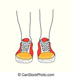 engraçado, sketchy, pernas, sneakers, ilustração