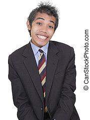 engraçado, smirking, homem negócios