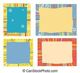 engraçado, snowflakes, padrão, feriados, desenho, bordas