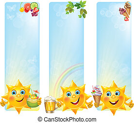 engraçado, sol, com, fresco, sobremesas, e, bebidas, bandeiras verticais