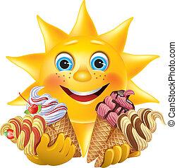 engraçado, sol, com, gostosa, sorvetes