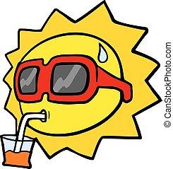 engraçado, sol, desenhar