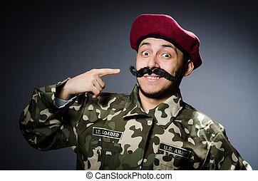 engraçado, soldado, em, militar, conceito