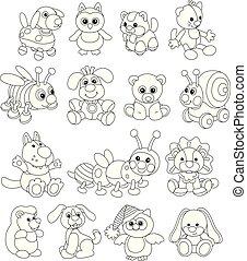 engraçado, sorrindo, animais brinquedo, amigável