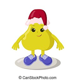 engraçado, sorrindo, cute, kawaii, chapéu, sneakers, natal, pêra