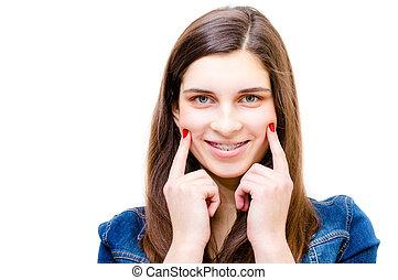 engraçado, sorrindo, menina adolescente, feliz