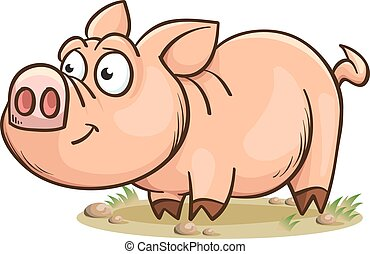 engraçado, sorrindo, porca