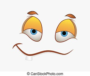 engraçado, sorrizo, rosto, expressão