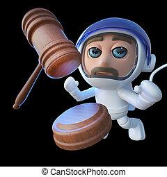 engraçado, spaceman, espaço, leilão, personagem, astronauta, gavel, caricatura, 3d