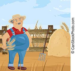 engraçado, spud, personagem, feno, limpeza, vector., agricultor, caricatura, homem