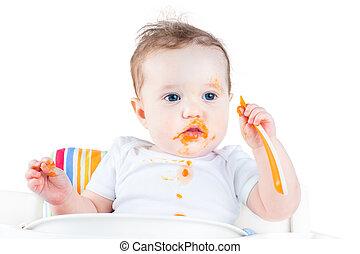 engraçado, sujo, bebê come, dela, primeiro, sólido, vegetal,...