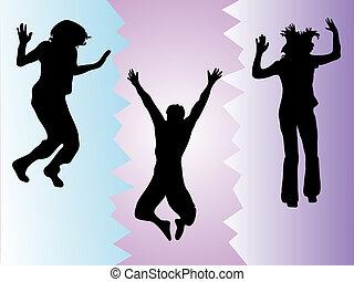 engraçado, teenies, pular
