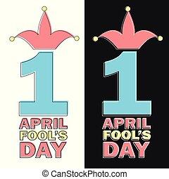engraçado, texto, saudação, ilustração, elemento, abril, vetorial, fools, dia, cartão