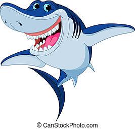 engraçado, tubarão, caricatura