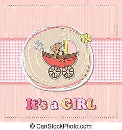 engraçado, urso teddy, chuveiro, menina bebê, carrinho criança, cartão