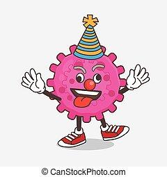 engraçado, vírus, cor-de-rosa, palhaço, personagem, caricatura, mascote