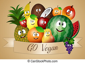 engraçado, vegan, dieta, frutas