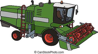 engraçado, verde, harvester