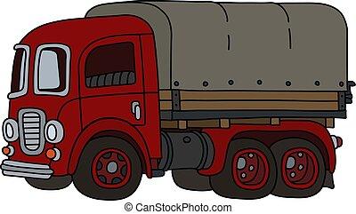engraçado, vermelho, caminhão velho