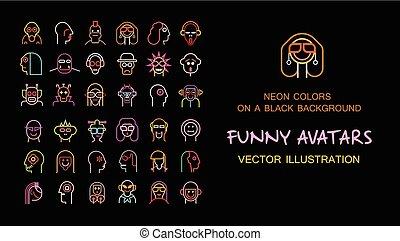 engraçado, vetorial, avatars, cobrança