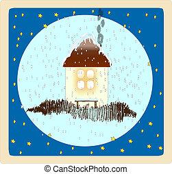 engraçado, vetorial, card., inverno, illustrat