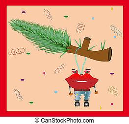 engraçado, vetorial, card., natal, illust