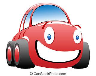 engraçado, vetorial, ilustração, corra carro