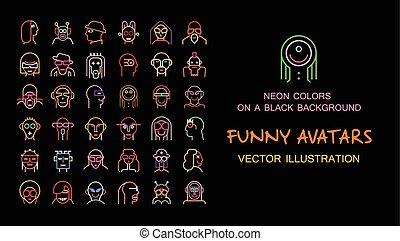 engraçado, vetorial, jogo, avatars