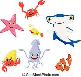engraçado, vida, mar, caricatura, cobrança