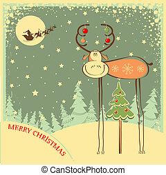 engraçado, vindima, noturna, touro, feriado, cartão natal