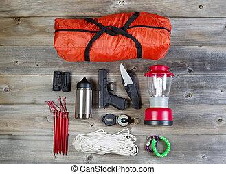 engranaje, campamento, protección, personal, accesorios