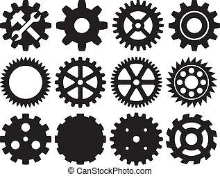 engranaje, colección, máquina, engranaje
