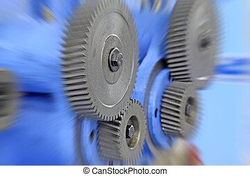 engranaje, cuadros, equipo, primer plano, mecánico, fábrica