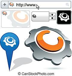 engranaje, empresa / negocio, resumen, logotipo, design.
