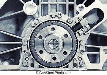 engranaje, en, un, motor
