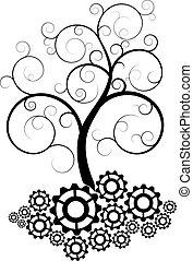 engranaje, espiral, árbol