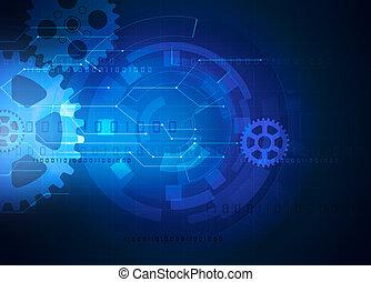 engranaje, futurista, tecnología, fondo azul
