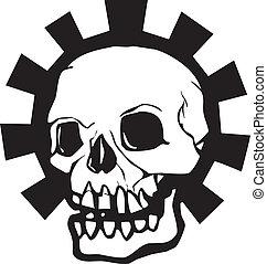 engranaje, halo, cráneo