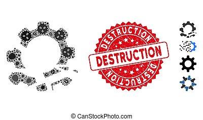 engranaje, infección, destrucción, redondo, collage,...