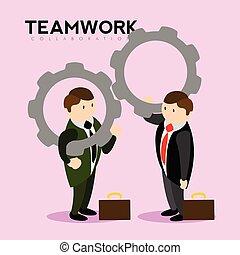 engranaje, pieces., trabajo en equipo, hombres de negocios, tenencia, par