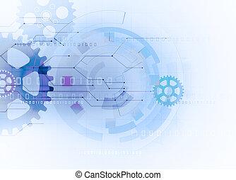 engranaje, plano de fondo, tecnología, futurista