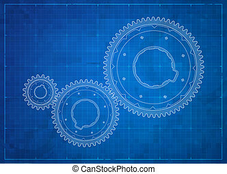 engranajes, blueprint., empresa / negocio, concept.