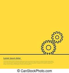 engranajes, ilustración, infographic, tela, plantilla, template., design.