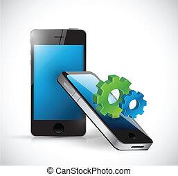 engranajes,  industrial, empresa / negocio,  smartphones