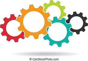 engranajes, logo., concepto, de, trabajo en equipo