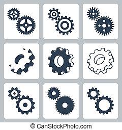 engranajes, vector, conjunto, cogwheeels, iconos