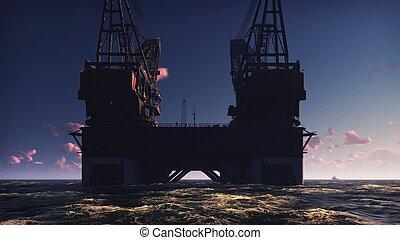 engrase plataforma, plataforma cercana costa, o, perforación mar adentro, aparejo, en, mar, en, sunrise., 3d, interpretación