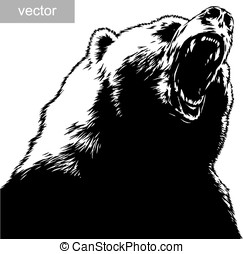 engrave bear illustration - engrave isolated bear vector...